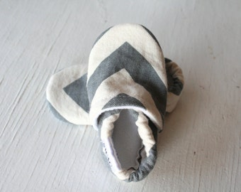CHEVRON Baby Shoes Booties zigzag boy girl toddler infant newborn slippers grey gray Duck cloth canvas SWAG
