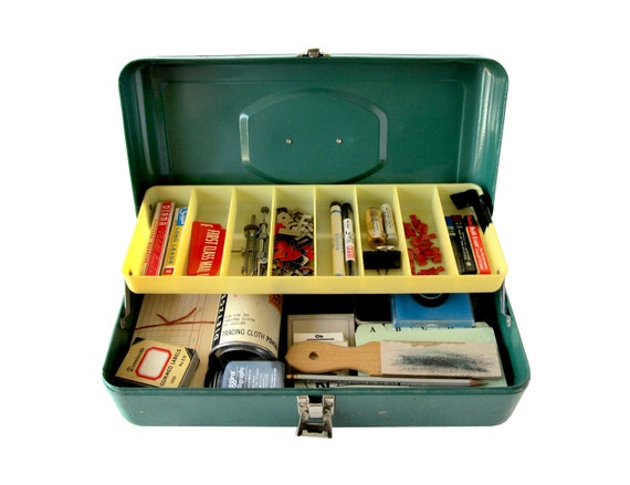 Vintage OFFICE SCHOOL SUPPLIES In A Retro Green Tackle Box