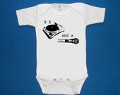 2 Two turntables and a microphone baby one piece bodysuit creeper screenprint Choose Size