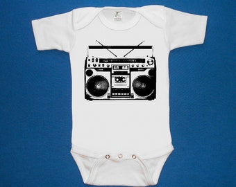 Boombox old school baby bodysuit one piece creeper screenprint Choose Size
