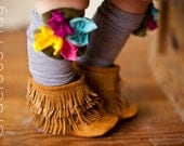 Caramel Suede Moccasin Boots baby and toddler fringe boots