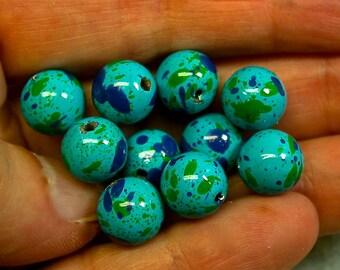 Vintage PICASSO Beads Japanese SPLATTER Blues Green 10mm pkg8 res454