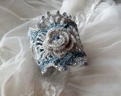 Drops of love, crocheted white, silver and blue bracelet