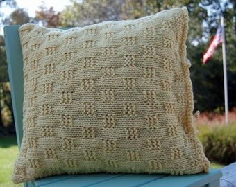 Hand Knit Wool and Cotton Pillow Covers