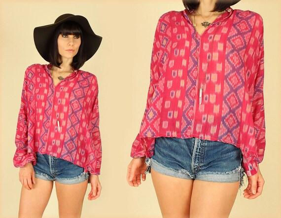 ViNtAgE 60's 70's India Ikat Sheer Cotton HiPPiE Gypsy Tunic Shirt
