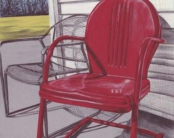 Art Print - Vintage Metal Lawn Chair - Wall Art - Metal Lawn Chair - Mixed Media - Red Lawn Chair - Unwind
