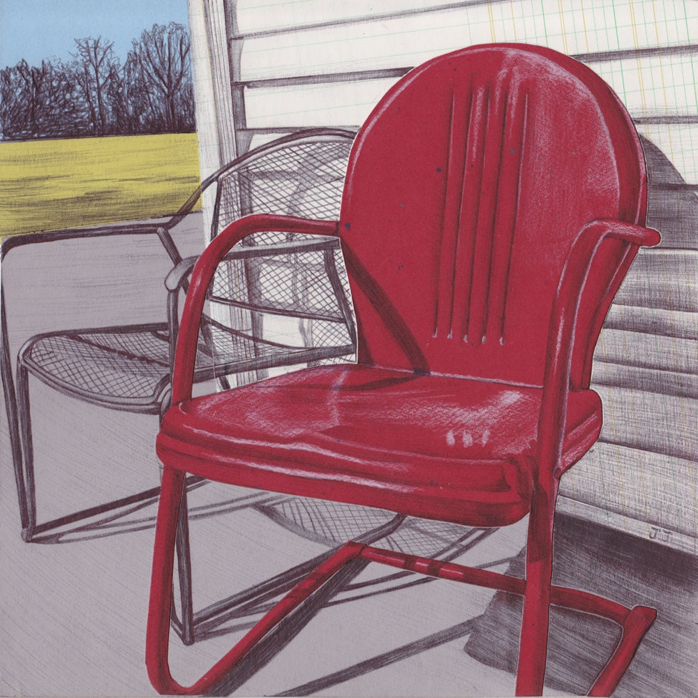 Art print vintage metal lawn chair wall art metal lawn - Old fashioned patio furniture ...