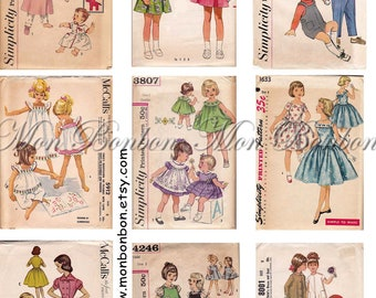Vintage Retro Childrens Dress and Clothing Sewing Patterns Collage Sheet - INSTANT DOWNLOAD