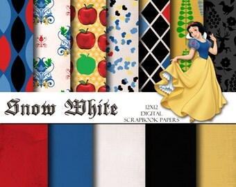 Disney Snow White Inspired 12x12 Digital Scrapbook Paper Backgrounds -INSTANT DOWNLOAD -