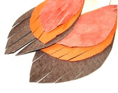 Leather Feather Earrings in dark chocolate, orange and peach - recycled