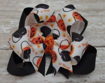 "Boutique Trick or Treat Halloween Layered 4"" Hair Bow Halloween Hair Bow Pumpkin Hair Bow"