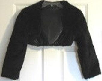 Bolero Black Faux Fur Bridal Wedding Shrug long sleeve fully lined crop Jacket