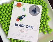 Outer Space - Rocket Birthday Party Invitation - PRINTABLE only