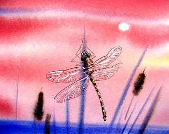 Original Watercolor...Dragonfly and cattails at the fishing hole Lake House Cottage Art by Barry Singer
