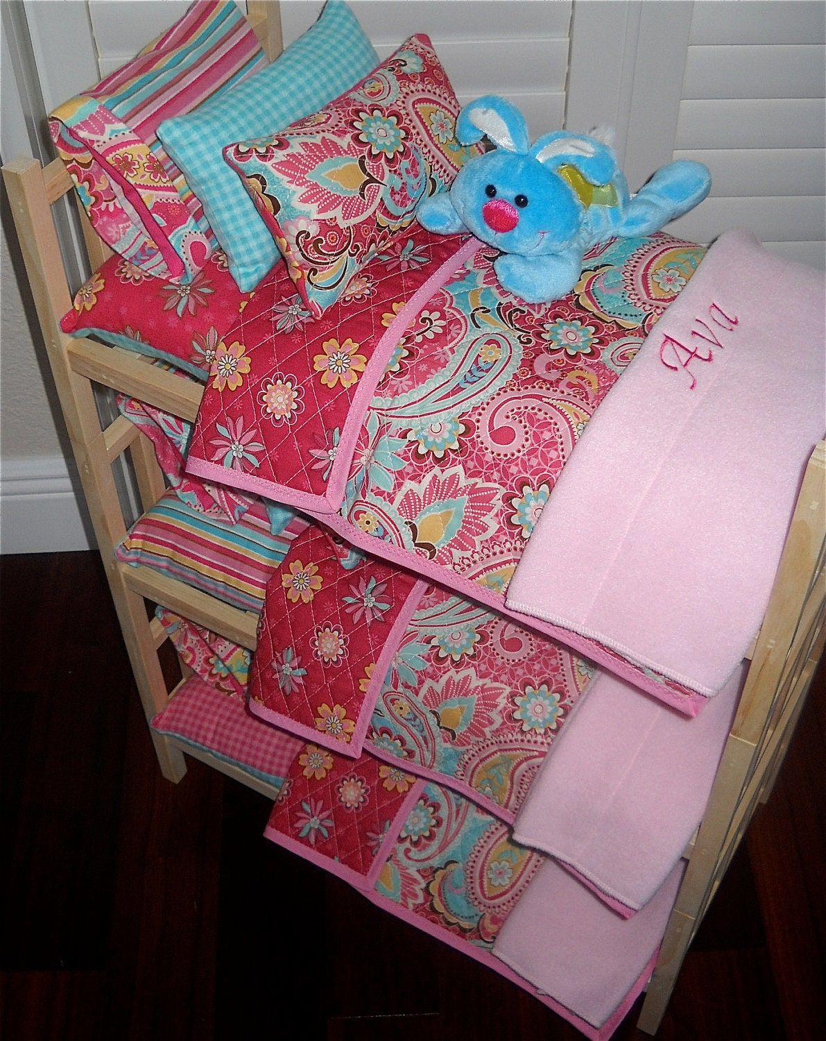 Pretty Triple Doll Bunk Bed Separates With Pink Teal Paisley