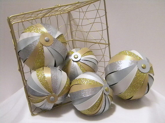 Decorative balls bowl fillers glittery gold and silver set of