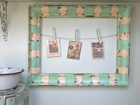 Shabby Beach Cottage Frame Distressed Home Decor Vintage Picture Frame Aqua White Farmhouse