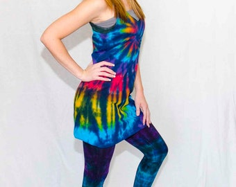 Stained Glass Rainbow American Apparel Tie Dyed Racerback Tank Dress