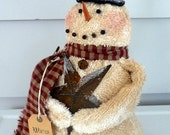 Primitive Snowman prim star Christmas decoration
