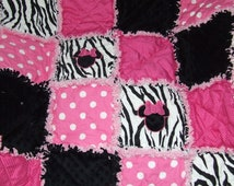 Personalized Custom Minnie Rag Quilt Baby Girl Pink Purple Hot Pink or Red w/ Zebra or Damask n Minky *Made to Order*