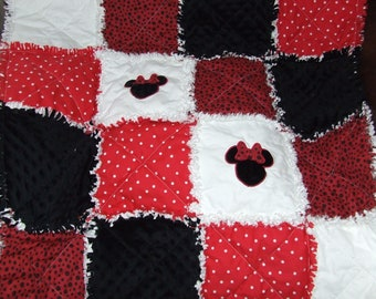 Custom Rag Quilt Minnie or Mickey Mouse Personalized Red Boy or Girl Minky Rag or Traditional ** Made to Order  **