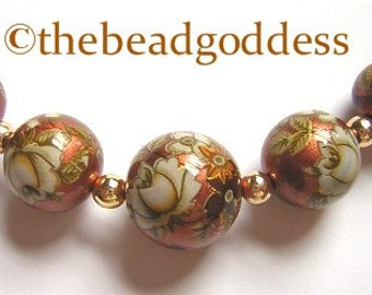 GRADUATED Japanese TENSHA  BEADS White Rose on Copper 10, 12 and 14mm