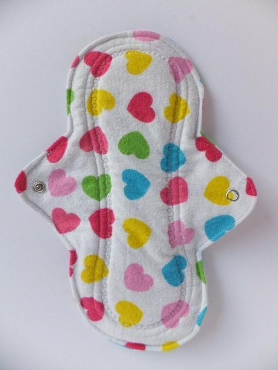 Regular Cloth Pad -- Hearty Heart Flannel -- Kiki Pads