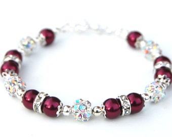 Cranberry Pearl Rhinestone Bracelet, Red Bridesmaid Jewelry, Sparkling Bling Bracelet, Winter Wedding Jewelry, Festive Wedding, Under 30