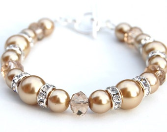 Champagne Pearl Bracelet, Bridesmaid Jewelry, Champagne Wedding Jewelry, Brides Bracelet, Bridal Jewelry, Gift for Bride, Bridesmaid Gifts