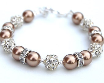 Bridesmaid Jewelry, Bronze Pearl Rhinestone Bracelet, Bridesmaid Gifts, Winter Wedding, Mother of the Groom Bracelet