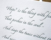 Hope Quote by Emily Dickinson, Letterpress printed flat card by Full Circle Press