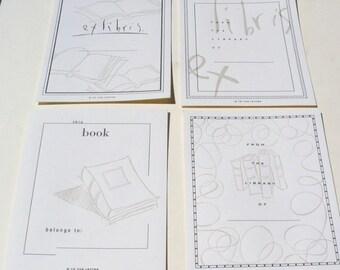4 Letterpress Book Plates