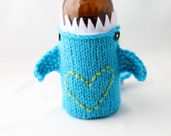 I Heart my  Shark Week, Soda Can Cozy, Gift for Teacher, Gift for Student, Friends, Gift for Boyfriend, Beer Cozy, Sport Drink, Knitted
