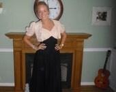 1940s Vintage Dress Black & Pink Chiffon Gown w Pale Pink Ribbon Work Bolero Jacket  34 Bust Red Carpet Worthy