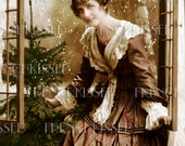 Victorian Christmas Lady at Window Antique Joyeux Noel French Postcard Instant Download