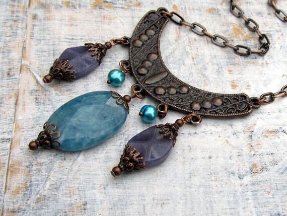 Urban Gypsy Bohemian Necklace Dark Orchid Bohemian jewelry Purple Blue