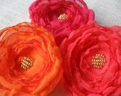 Fabric Flower Hair Pins, Chiffon Fabric, Hot Pink, Orange, Grapefruit, Neon, Bridesmaid Hair
