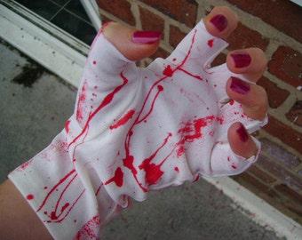 zombie CORPSE bride BLOOD SPLATTERED white bridal fingerless gloves frankenstein halloween costume