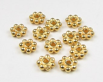 4mm 24k Gold Vermeil Bali Daisy Spacer Beads (50 pieces)