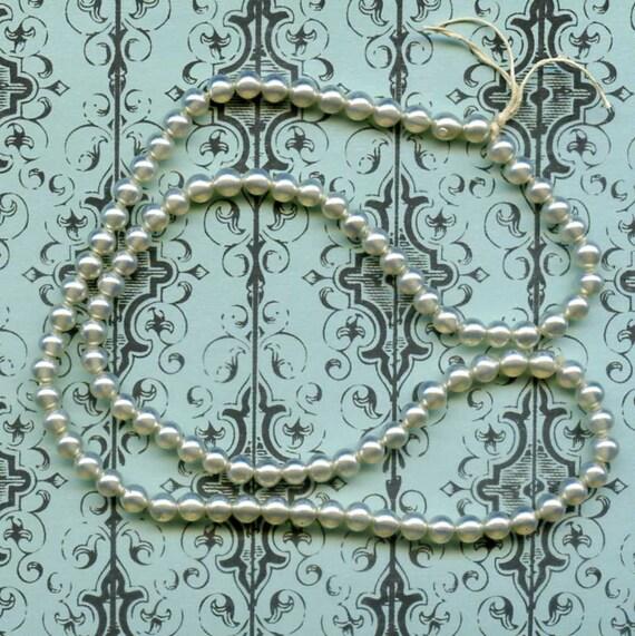 100 Vintage Opalescent Glass Pearls, Light Cerulean Blue, 1950 Japan 4x4 mm