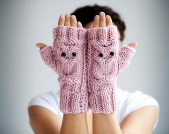 Owl Pink Fingerless Gloves - Mittens