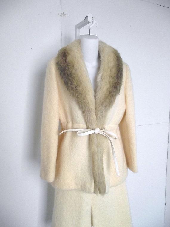 1970s Vintage Suit Winter White Faux Fur By