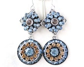 "Swarovski Blue and Topaz Crystal Earrings in Art Deco Mid Century Design Jewelry, ""Somber Evenings"""