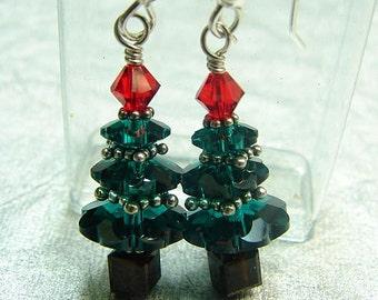 christmas tree earrings sterling handmade Swarovski crystal