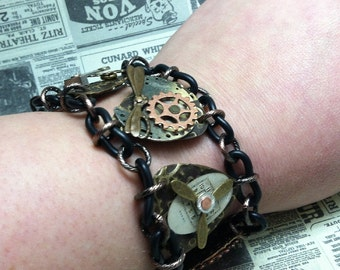 REAL Steampunk vintage watch parts bracelet embossed brass gears cogs dragonfly fun stuff