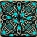 Turquoise and Black Square Kaleidoscope Polymer Clay Cane