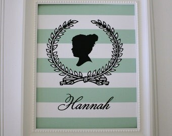 Custom Personalized Silhouette with Laurel Wreath made from your photo -Silhouette Portrait from Simply Silhouettes