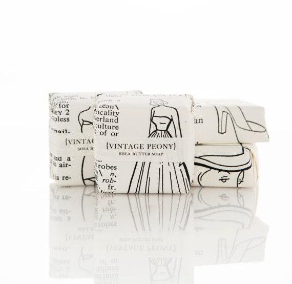 Vintage Peony Shea Butter Soap  - Scented Soap - Vegan Soap - Artisan Soap - Handmade Soap