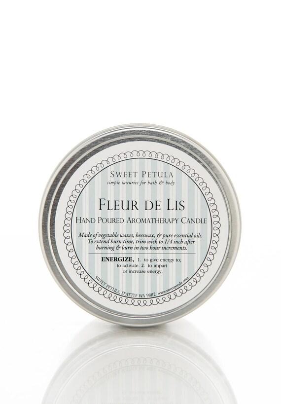 Fleur De Lis - Rose Geranium and Lemongrass Essential Oil Blend- Natural Wax Aromatherapy Candle