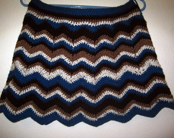 "Ripple Crocheted Skirt - ""Blueberry Muffin"""